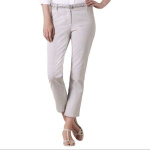 Boden Gray And White Striped Crop Trouser Sz 12